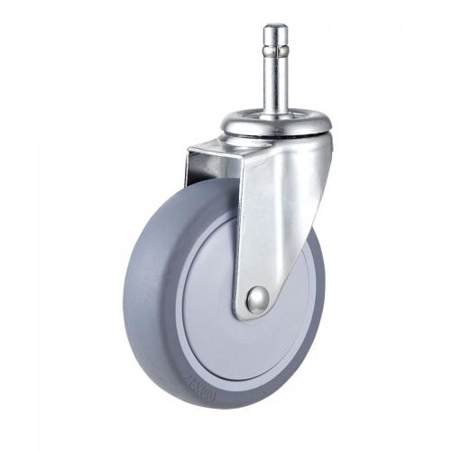Medium/Light Duty, Grip ring stem TPR wheel caster-Swivel/Break