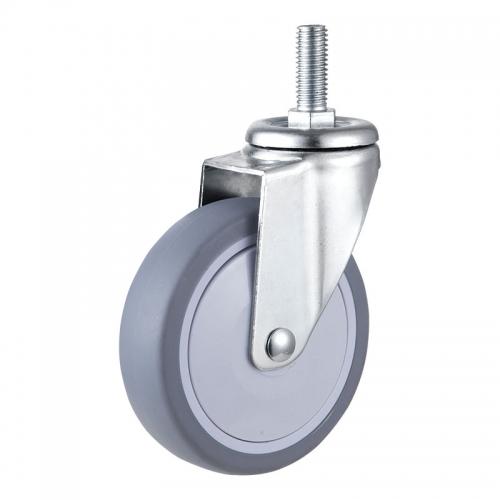 Medium/Light Duty, Thread stem TPR wheel caster-Swivel/Break