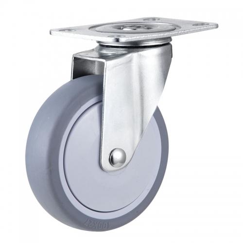 Medium/Light Duty, Top-plate TPR wheel caster-Swivel/Fix/Break