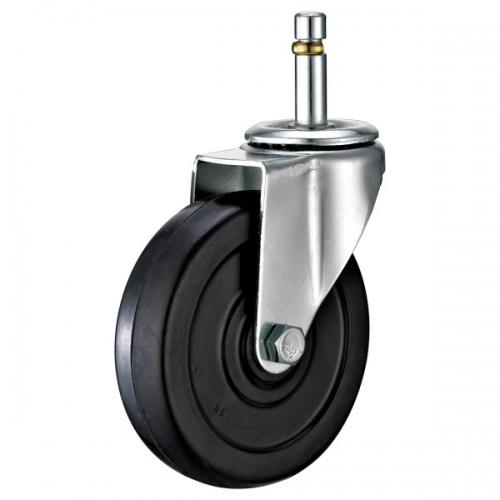 Solid rubber wheel caster,Grip ring stem Swivel/Break