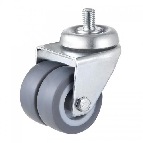 Thread stem Twin wheel caster-Swivel/Break
